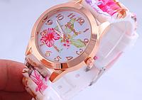 Женские наручные часы на силиконовом ремешке GENEVA с цветами hibiscus