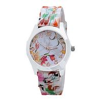 Женские наручные часы на силиконовом ремешке GENEVA с цветами gladiolus белый корпус