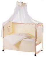 Комплект детского постельного в манеж Qvatro Украина 76550, мишка с бутылочкой