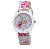 Женские наручные часы на силиконовом ремешке GENEVA с цветами hibiscus белый корпус