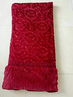 Покрывало искусственный мех (травка) с узором красный