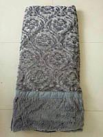 Покрывало искусственный мех (травка) с узором серый