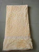 Покрывало искусственный мех (травка) с узором персиковый