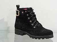 Ботиночки женские на шнуровке замшевые