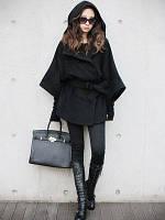 Короткое кашемировое пальто с капюшоном и широкими рукавами