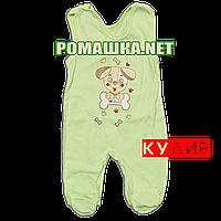 Ползунки высокие с застежкой на плечах р. 56 ткань КУЛИР 100% тонкий хлопок ТМ Алекс 3142 Зеленый2