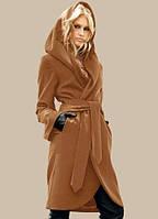 Кашемировое пальто с капюшоном и карманами в боковых швах