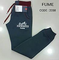 Спортивные штаны тёплые для мальчиков на байке Графит