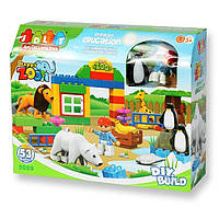 Конструктор JDLT 5089 «Зоопарк», 53 элемента, пингвины, жираф, медведь, лев, фигурка рыбы, бананы