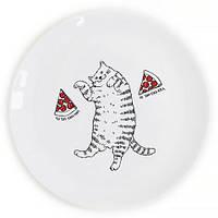 Тарелка Кот и пицца на Подарок
