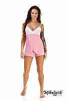 """Женская пижама """"Гипюр"""". Майка и шорты. Цвет розовый с белым."""