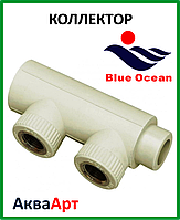Коллектор наборной из PPR 32х1/2вх2 с латунной вставкой BLUE OCEAN