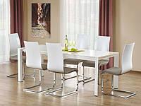 Раздвижной обеденный стол Halmar Stanford с лакированной белой столешницей