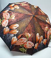Женский зонт полуавтомат, с розами и тюльпанами.