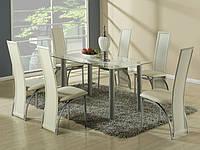 Стеклянный кухонный стол Halmar Talon со стальным каркасом