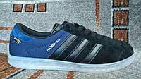 Кроссовки Adidas Hamburg (Адидас  Гамбург) черные с синим оригинал замша и ткань