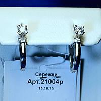 Серьги из серебра с камнями выгнутой формы 21004р