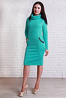 Симпатичное теплое женское платье с красивым воротом