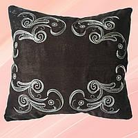 Декоративная подушка с вышитой наволочкой (коричневая)