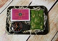 Набор ароматного мужского мыла  Эмблемой Сухопутных войск Украины,часы,танк