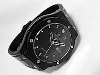 Мужские часы HUBLOT - GENEVE Black, кожаный с каучуком ремешок, цвет полностью черный