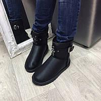 Угги женские UGG Крест эко кожа черные, зимняя обувь