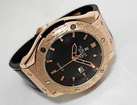 Мужские часы HUBLOT - GENEVE Black, кожаный с каучуком ремешок, цвет черный с золотом