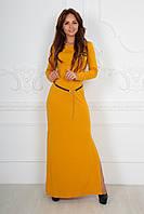Длинное платье-туника с тонким пояском из джерси