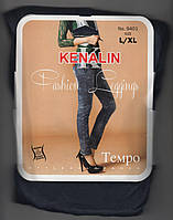 Лосины-джеггинсы женские на меху Kenalin 9401, с 1 швом, карманы сзади, размер L-XL, синие