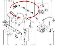 Трубка (обратка) слива топлива Renault Trafic II / Opel Vivaro - 2.0 Dci (M9R). Оригинал Renault - 8200894668