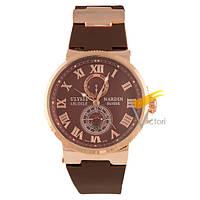 Мужские механические часы Ulysse Nardin Maxi Marine Brown (Улисс Нардин)