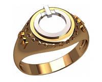 Оригинальное мужское золотое кольцо 585* пробы