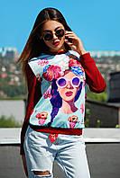 Молодежный женский свитшот с принтом девушки