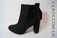 Ботиночки черные замшевые на каблуке и платформе со шнуровкой