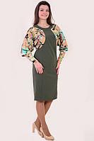 Платье женское комбинированное  «Летучая мышь», пл 124-1, ботал, 50,52,54,56,58., платье на большую грудь.