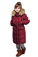 Красивая детская зимняя куртка бордового цвета