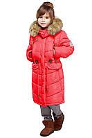 Модная детская зимняя куртка с мехом енота
