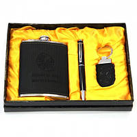 Подарочный набор Фляга из кожи прессованной черного цвета