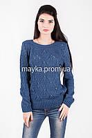 Кофта свитер Джемпер вязаный Ева р.48 цвет Джинс