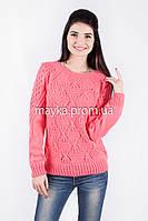 Кофта свитер Джемпер вязаный Ева р.46 цвет Коралл