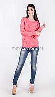 Кофта свитер Джемпер вязаный Ева р.48 цвет Коралл