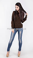 Кофта свитер Джемпер вязаный Ева р.46 цвет коричневый