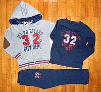 Теплые спортивные костюмы-тройки для мальчика 32-CITY серый 5-8 лет