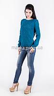 Кофта свитер Джемпер вязаный Ева р.46 цвет Темно-бирюзовый