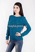 Кофта свитер Джемпер вязаный Ева р.48 цвет Темно-бирюзовый