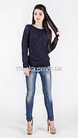 Кофта свитер Джемпер вязаный Ева р.46 цвет Темно-синий
