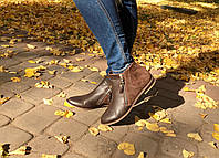 Женские ботинки на низком ходу. Возможен отшив в других цветах кожи и замша