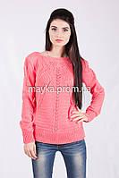 Кофта свитер Джемпер вязаный Паучек р.46 цвет Коралл