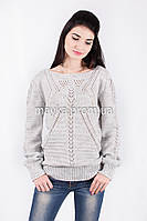 Кофта свитер Джемпер вязаный Паучек р.44 цвет Светло-серрый