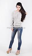 Кофта свитер Джемпер вязаный Паучек р.46 цвет Светло-серрый